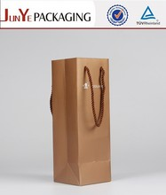 Wine bottle packaging embed rope popular shopping kraft paper bag for sale