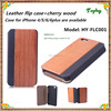 2015 New design wood flip leather case for iphone 5s with car slots wholesales flip leather cases and cover for iphone 6