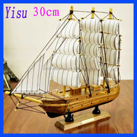 Brand New Super high-grade 30cm Wooden crafts Sailboat Model