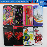 2 in 1 Silicone+PC Case Water Printing For Samsung S5 i9600, Combo Decal Silicone Case For Galaxy S5 i9600