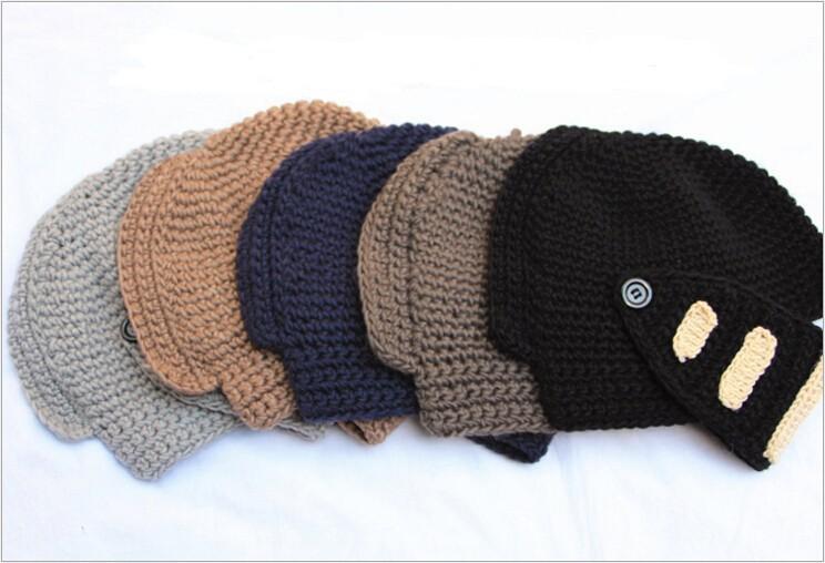 Mens envío de punto patrón de crochet sombrero casco de caballero ...