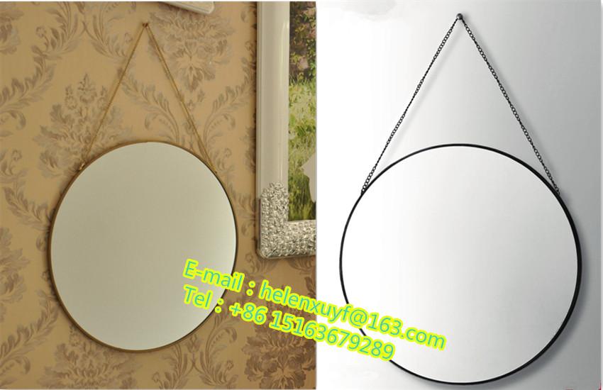 Großhandel Billig 55 Durchmesser Schwarz Beschichtet Metallrahmen Dekorative  Wandspiegel Mit Lederband