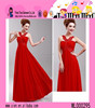 2015 High Quality Lace Halterneck Newest Dress Wholesale Ladies Party China Red Evening Dress