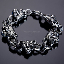Punk leopards handlace titanium steel stainless steel men's bracelet with Europe and the United States