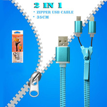 35 Color 2 in 1 35CM Portable Dual Micro USB Cable Zipper Design USB 2.0 Charge Data Cable for Android Smart Phones MP3 MP4