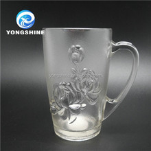 Customer design clear 390ml tea drinking glass cup with handle