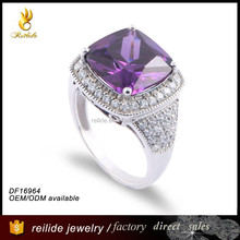 fashion sterling silver jewelry big stone ring DF16964 prong setting amethyst ring, single stone ring designs