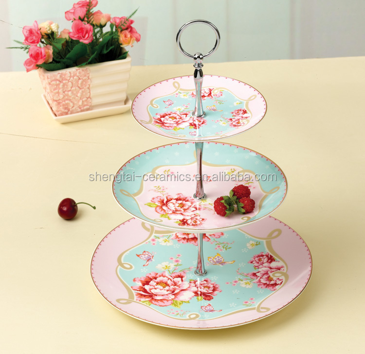 Layers cake ceramic plate with stand buy