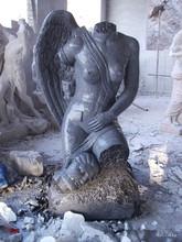 Western style indoor black stone Angel trunk sculpture