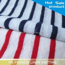 wholesale textil 100% linen stripe fabric knitting for fashion summer dresses