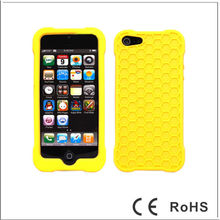 Popular Honeycomb Soft Silicone Case Cover for iPhone 5-Yellow