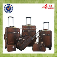 Alibaba New Products Luggage Set 360 Degree Spinner Wheels PU Leather Suitcase Leopard Luggage