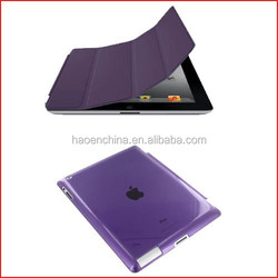 50 pcs High quality PU Leather Magnetic Smart Cover+ 50pcs Clear Hard Back Case For iPad 2 for iPad 3 for iPad 4