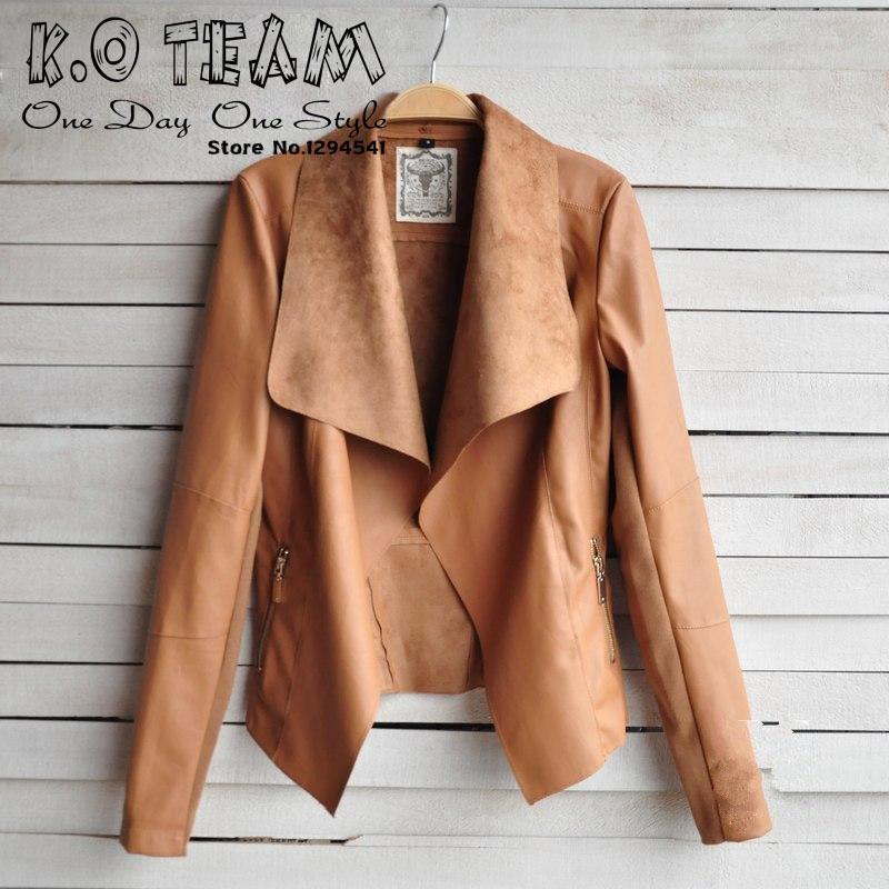 женщины сексуальная мотоцикла кожа Куртка Пальто s-xl 4 размер короткий параграф диагональная молния верхняя одежда пальто нового ow625
