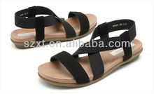 fashion cheap casual women elastic ankle straps flat women sandals 2013