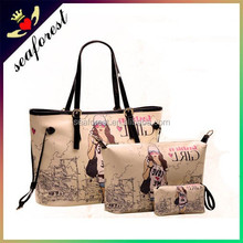 new style european fashion printed ladies 3pcs pu leather handbags/fashion bag in bag