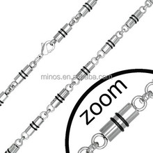 5mm stainless steel mens tube line 24 inch chain necklace