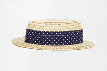 Wheat Braid Fedora Hat With Polka Dots Ribbon