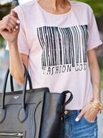T-shirts Tops fashion women girl clothes Bar Code Print T-Shirt