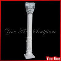 Natural White Stone Carving House Pillar