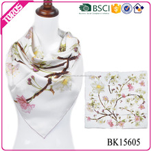 BSCI certification chinese silk scarf , chinese silk scarf wholesale china, custom twill silk scarf 90x90