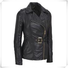 New Ladies Leather Motorcycle Biker Jacket Soft