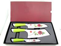 TE-060 Hot New High Quality Utility 3pcs Gorgeous Rose Flower Coating Kitchen Knife Set