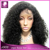 "20"" 150 density Brazilian virgin human hair kinky curly full lace wig custom made wig #1b left side u part wig for black women"
