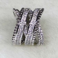 NYR7500 INCREDIBLE!!! 132pcs Unique Two Cross Design Wedding Band Micro Cubic Zirconia Pave Ring 18KGP Size6#/7#/8#/9#Available