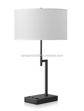 Architectural Bronze Finish Table Lamp with power outlet and UL CUL approved