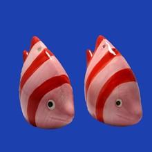 Fish Shaped Tropical Pink Red Stripe Ceramic Salt Pepper Shakers