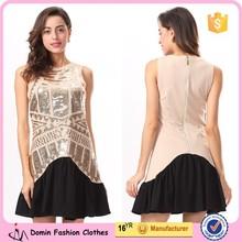 Ladies New Design Sleeveless Back Zipper Sequin Dress