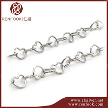 wholesale china manufacturer 925 sterling silver heart shape chains