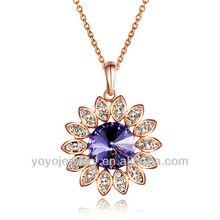 Special item amethyst crystal gemstone alloy flower necklace