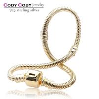 Wholesale Gold Plated Snake Chain Bracelets 3mm 925 Sterling Silver Bracelet For girls Men Women DIY Jewelry