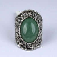 Hot Sale Green StoneTrendy Vintage Alloy Finger Ring R3948