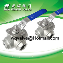 3way 3/8'' reduce bore L or T port thread ball valve with munting pad, SS304 ANSI BS DIN JIS