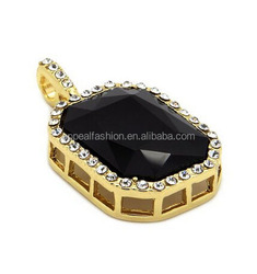 Mens 14k Gold Plated Iced Out Black Ruby Octagon Hip Hop Pendant with 30inch Rope Chain