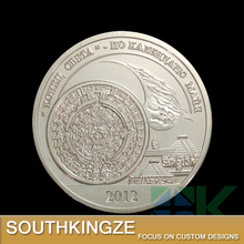 Famous event memorial fine silver plated 2012 doomsday embossed coin