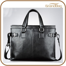 Classical Men Business Shoulder Bag Horizontal Man Brief Case Laptop Leather Portfolio Handbag