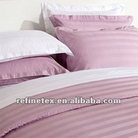 Hotel satin sateen stripe cotton bedding set