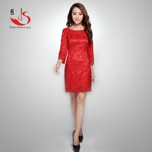New Fashion Stylish Elegant Ladies 3D flowers hollow Embroidery lace 3/4 length sleeve Dress