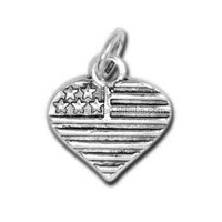 Free Shipping Antique Silver Heart Shaped Stars And Stripes American Flag Charms