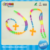 Fashion promotional Tie dye colors Rosary Cross soft silicone necklace silicone teething necklace