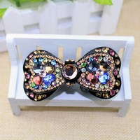 Free shipping wholesale lfashion uxurious women rhinestone hair bow with clip swarovski crystal hair accessories