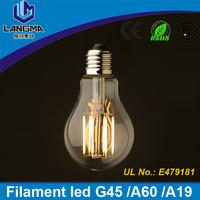 Langma 120lm/W high cri ra>90 filament led light globe 2200k E27 E26 B22 edison style 4w/6w/8w A60 dimmable led bulb