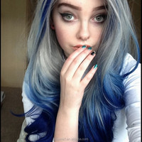 Ombre Grey/Blue Bodywave Synthetic Lace Front Wig Glueless Long Silver Grey/Blue Heat Resistant Hair Wigs New