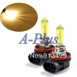 10pcs/lot 2x Amber / Yellow 65W Car H9 Fog Bulb Halogen Light Lamp Gas 12V 3000~3500K 4192