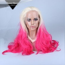 Sunny Queen Hair High quality factory price synthetic hair synthetic lace front wig 2 tones, synthetic front lace wig 3 tones