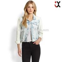 2015 Plus size vintage cropped denim jacket short long-sleeve coat women(JXW1533)